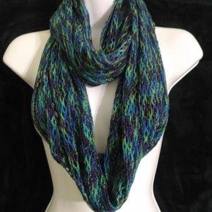 Steve Madden Sparkle Knit Infinity Scarf Blue/Grn